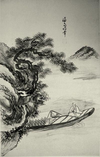 (Korea) Fishing boat by Gyeomjae Jeong Seon. ca 18th century CE. ink on paper. National Museum of Korea. 어주도.