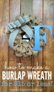 how to make burlap wreath under 15 dollars