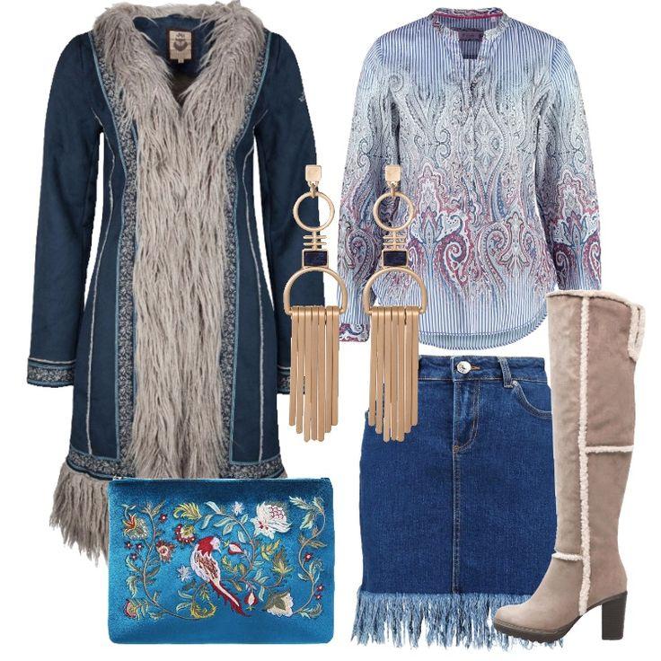 Outfit che ci riporta ai meravigliosi anni '70. Cappotto navy, scollo a v, chiusura con gancetti, bordato in pelliccia sintetica, ricami, abbinato a minigonna in jeans, fondo con frange. Camicia in fantasia multicolore, collo alla coreana, stivali sopra il ginocchio taupe, punta tonda, tacco largo, plateau, bordi in contrasto; pochette dark teal, con ricami colorati, orecchini pendenti.