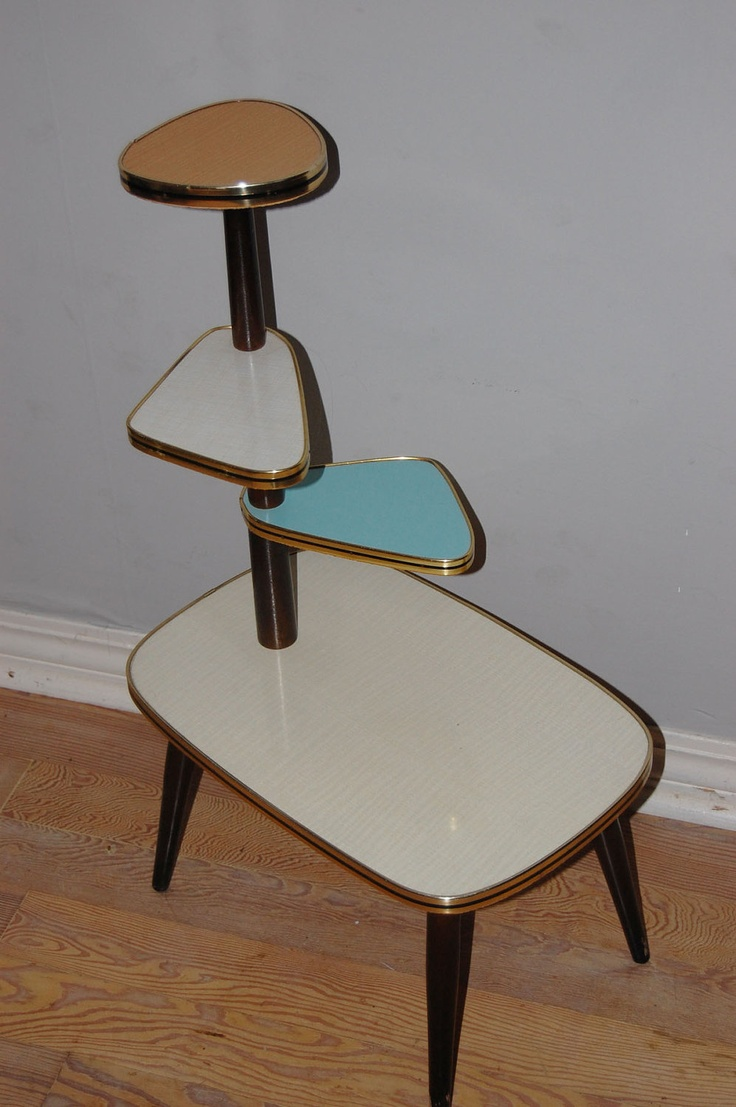Exhibition Stand Vintage : Retro vintage s atomic plant display stand wood and