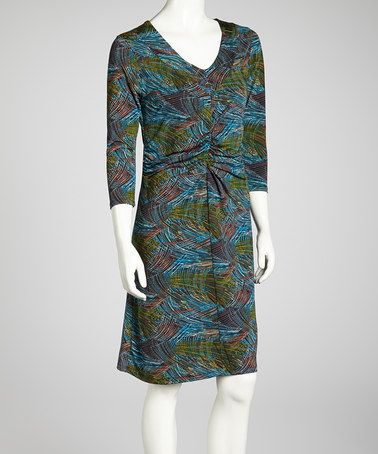 Take a look at this Teal & Green V-Neck Dress by Claudia Richard on #zulily today!