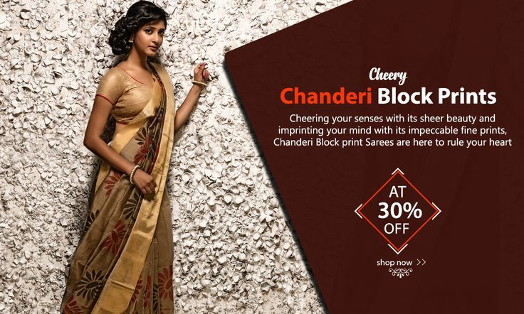 Charming #ChanderiBlockPrintSarees at 30% LESS!