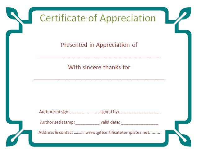 37 best Certificate of Appreciation Templates images on Pinterest - examples of certificate of recognition