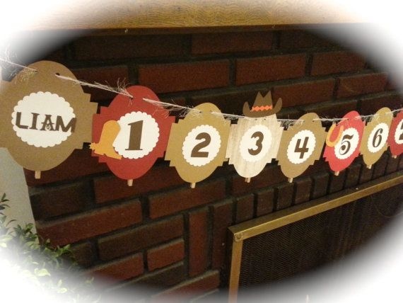 12 month picture banner cowboys and indians by ThePinkPapermill, $22.50