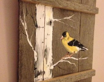 Add a rustic touch to your home decor with this Gold Finch acrylic painting, showcased on a rustic pallet canvas.  Please Note: Painting may vary slightly from the image in the photo, as no two paintings are exactly identical. Dimensions: 12.5H X 10 W  Pallets are well constructed with finishing screws and have been hand sanded and varnished to give it a finished look. Ships quickly and comes ready to hang!   If you would like a custom painting, please select the Request Custom Order button…