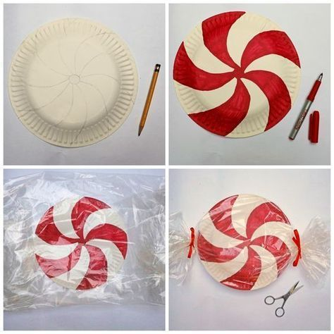 Painted Paper Plate Peppermints. #Christmasdecorationideas #redandwhiteChristmas #Christmasdecorating