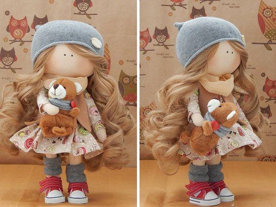 Handmade doll Fabric doll Tilda doll blonde brown color Soft doll Cloth doll…