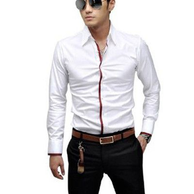 Men NEW Point Collar Long Sleeve Button Closure Front Stripes Detail Shirt White