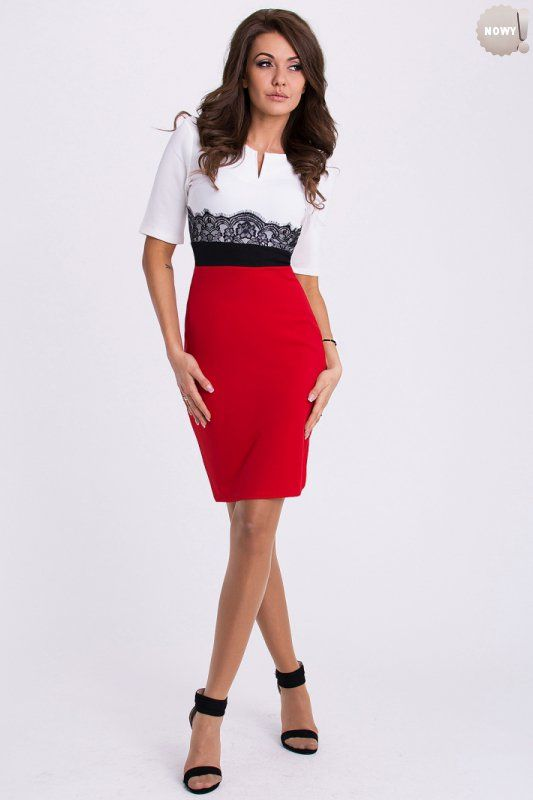 Biało-czerwona sukienka ozdobiona koronką. #sukienka #koktajlowa #kobieta #elegancka #krótka
