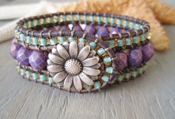 Beaded leather cuff bracelet 'Country Flowers' by slashKnots, $90.00