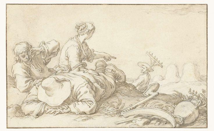 Abraham Bloemaert | Juli, Abraham Bloemaert, 1574 - 1651 | Het oogsten van hooi. Ontwerp voor een prent.