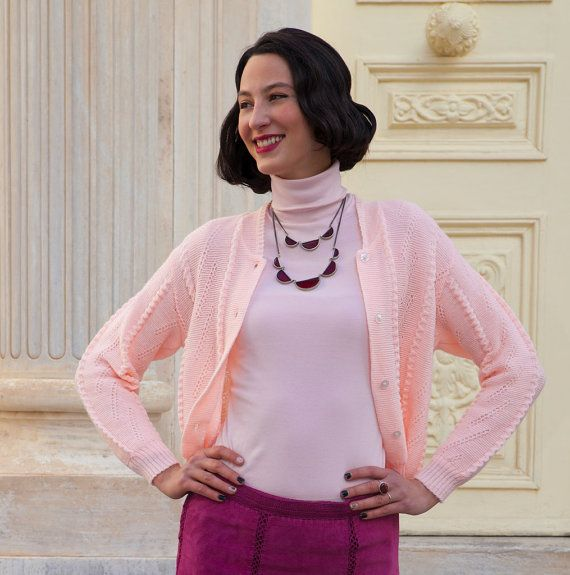Vintage Pink Short Knit Cartigan, Ideal for High Waist Skirts or Trousers
