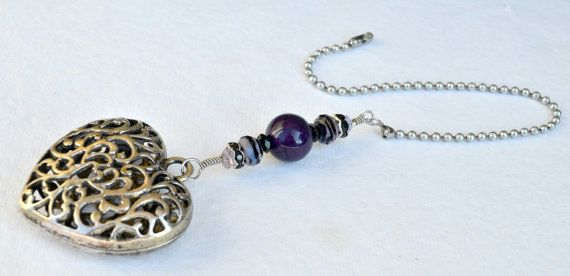 Silver and Purple Ceiling Fan Pull