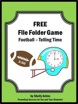 FREE Football Game for Telling Time -In appreciation for all you do, I am offering this free football file folder game to reinforce telling time skills. It features a football theme sure to motivate a reluctant learner!