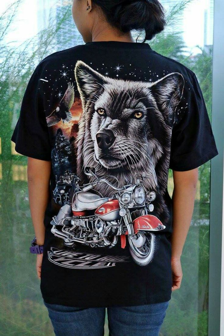 Black dog t shirt ebay - New Men Women Unisex Glow In The Dark Wolf Dog Animal Motorbike Motorcycle Big Bike Graphic