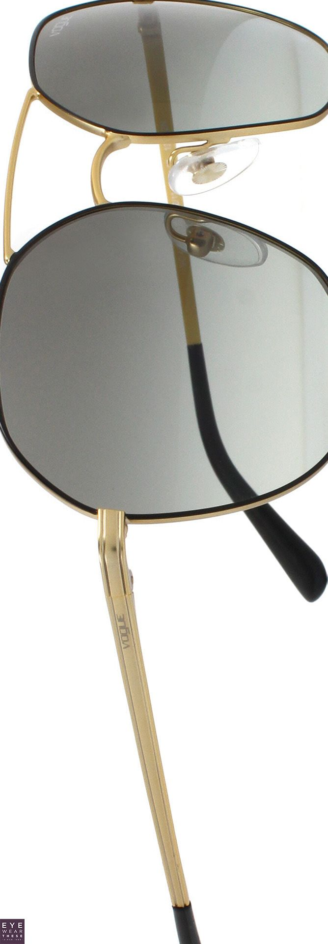 Round Vogue 4061S sunglasses for women with double bridge and the Vogue logo on each temple | EyeWearThese | #vogue #sunglasses #eyewear #fashion