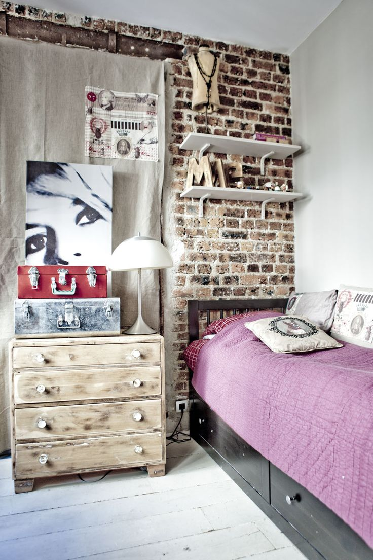 I love interior design where the beautiful brick wall is left exposed. #homedesign #homedecor