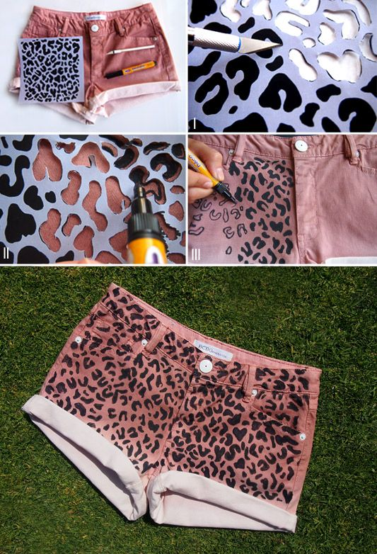 Leopard Print Short Shorts | Because I'm Addicted  Here's a super quick way to get some cute printed shorts in the colour/shape/style that you want! Sharpies have a great set of fabric pens that would be perfect - and they're a lot cheaper than the other fabric pens!