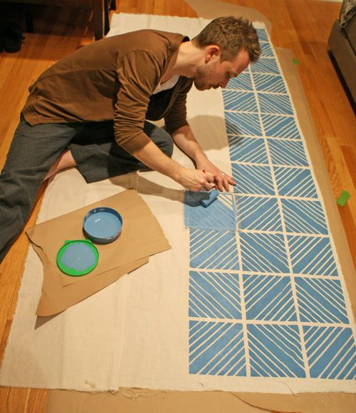 DIY Painted Pattern Fabrics: 15 Diy, Diy Ideas, Patterns Fabrics, Diy Crafts, Home Projects, Apartment Therapy, Diy Home, Paintings Fabrics, Diy Projects