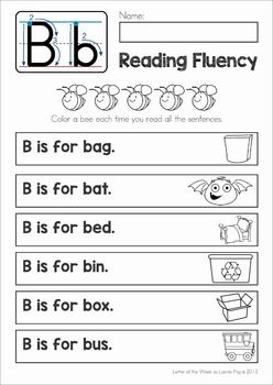 FREE Phonics Letter of the Week B. Reading fluency strips with CVC words for beginning and struggling readers.