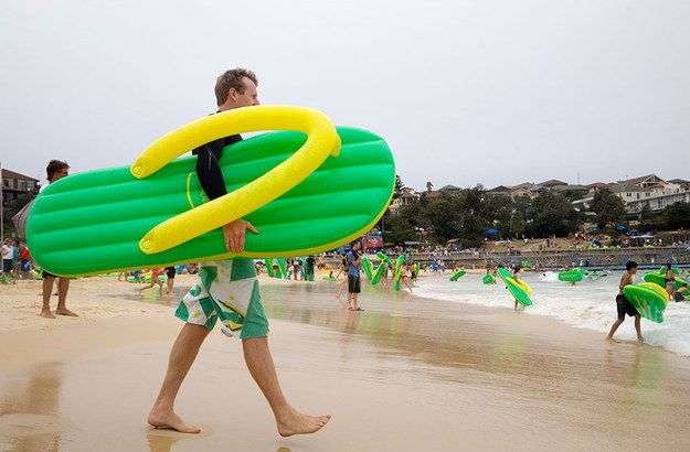 Head down to Bondi Beach with your inflatable flip-flop. | 15 Things You Can Do In Australia That You Can't Do Anywhere Else