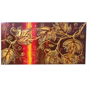 """Quadri Materici Astratti """"Colori d'autunno"""" Acrilico materico astratto su tela a cassetto. I colori caldi dell'autunno si mescolano e creano uno sfondo spatolato al ramo rampicante in rilievo. Perfetto da collocare su pareti rustiche."""