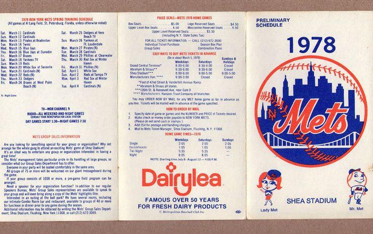 1978 MLB Baseball New York Mets Game Pocket Schedule