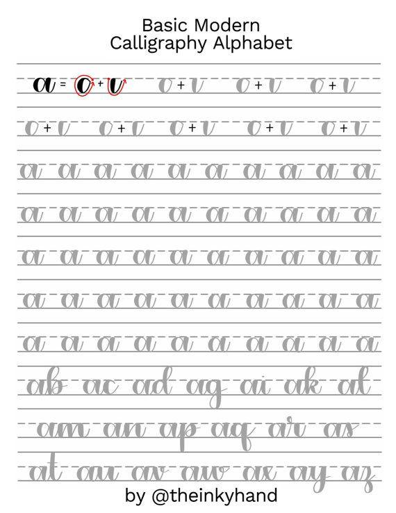 Basic Modern Calligraphy Lowercase Alphabet by theinkyhand