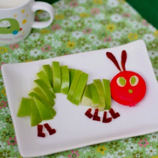 Very Hungry Caterpillar snack - use grapes for body and licorice for legs/antennae