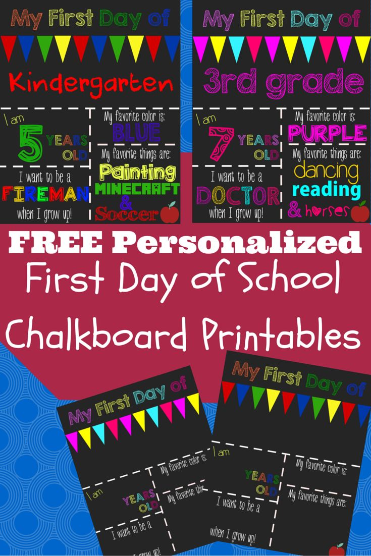 These free First Day of School Printable Chalkboard Signs can be customized for your child quickly and easily!! Just download, type and print and you'll have a memorable First Day Photo to celebrate your child's big day!
