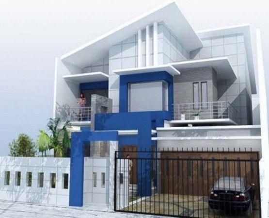 Model Rumah Cat Warna Biru tampak depan