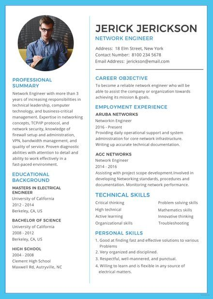 Free Basic Network Engineer Resume Template