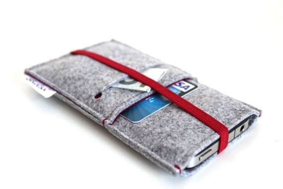 iPhone 5S/ iPhone 5C/ iPhone 5 Sleeve / iPhone 4-4S Sleeve / Samsung S4 Case/ New iPhone- Light Grey & Deep Red - Elastic Band  Deep Red