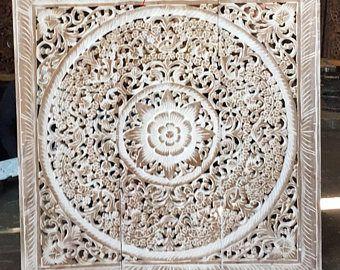 Weiss Teak Holz Naturliche Bett Kopfteil 36 3ft Skulptur Lotus Blume
