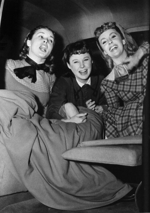 Janet Leigh, June Allyson and Elizabeth Taylor on the set of Little Women.