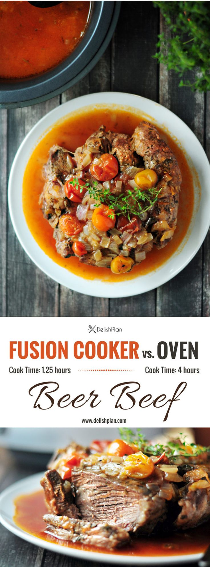 Beef roast seasoned with a savory dry rub, browned, and then cooked in beer and bone broth with tomatoes and onions. Cook this beer beef in a Fusion Cooker to save 68% of the cooking time and 76% of energy.
