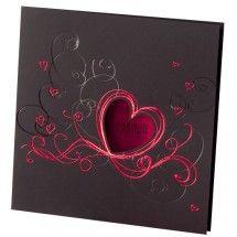 Einladungskarte zur Hochzeit Herzausschnitt rot 725266