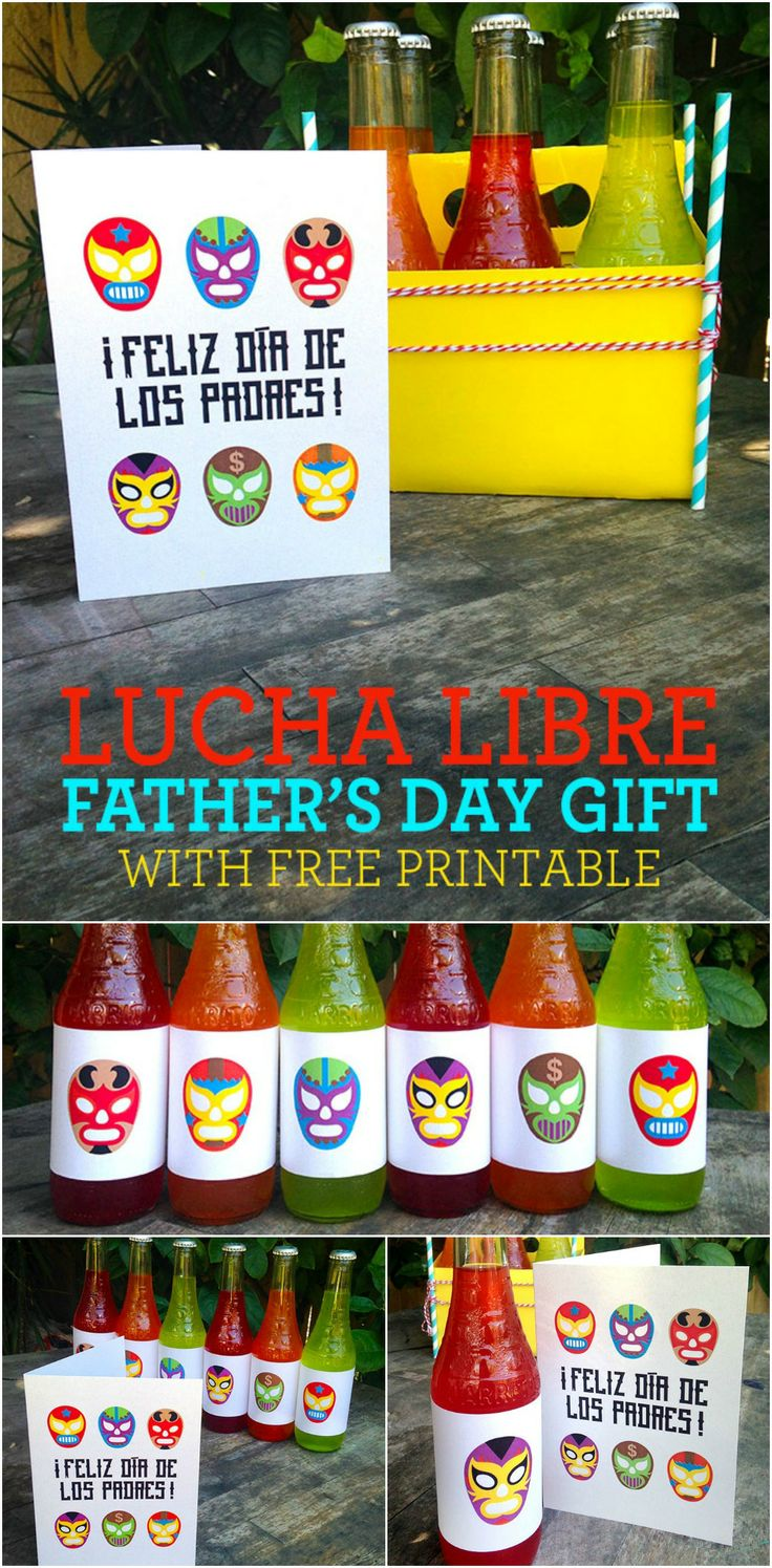 Lucha libre gift idea and FREE printable in Spanish. // http://www.livingmividaloca.com/2014/06/lucha-libre-fathers-day-gift-idea.html #bilingualism