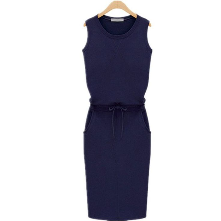 Summer Fashion Women Ladies Casual Dress Round Neck Sleeveless Solid Slim Dresses Plus Size S-4XL