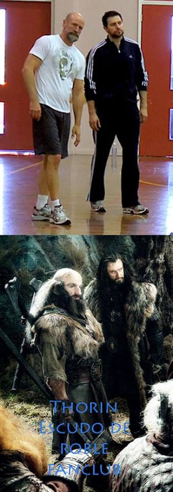 Thorin and Dwarlin camp...Richard Armitage and Graham McTavish... look a bit tired.