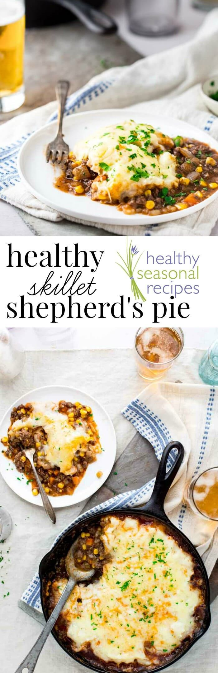 Healthy Skillet Shepherd's Pie! Only 390 calories per serving and gluten-free. On healthy Seasonal Recipes by Katie Webster