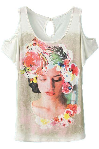 ROMWE | Off Shoulder Girl Print White T-shirt, The Latest Street Fashion #ROMWEROCOCO