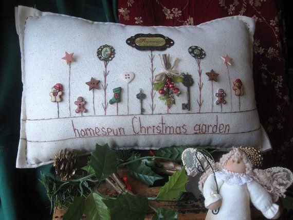 Almohada de hacer Navidad jardín estilo casa de por PillowCottage