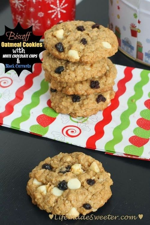 Biscoff Oatmeal Cookies with White Chocolate Chips and Black Currants ...