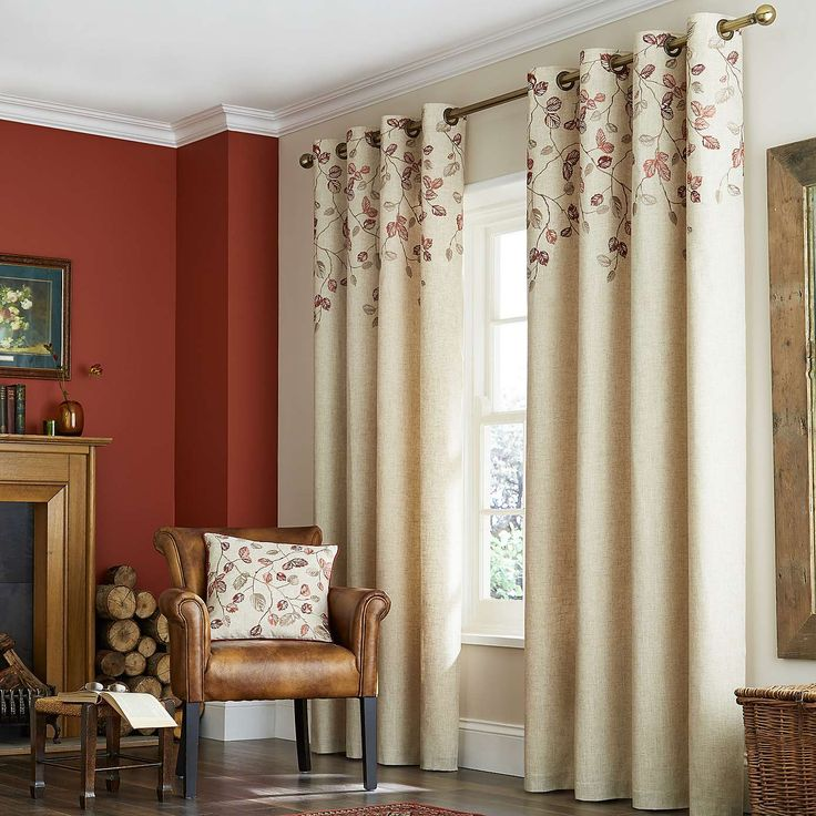 Natural Autumn Leaves Lined Eyelet Curtains | Dunelm