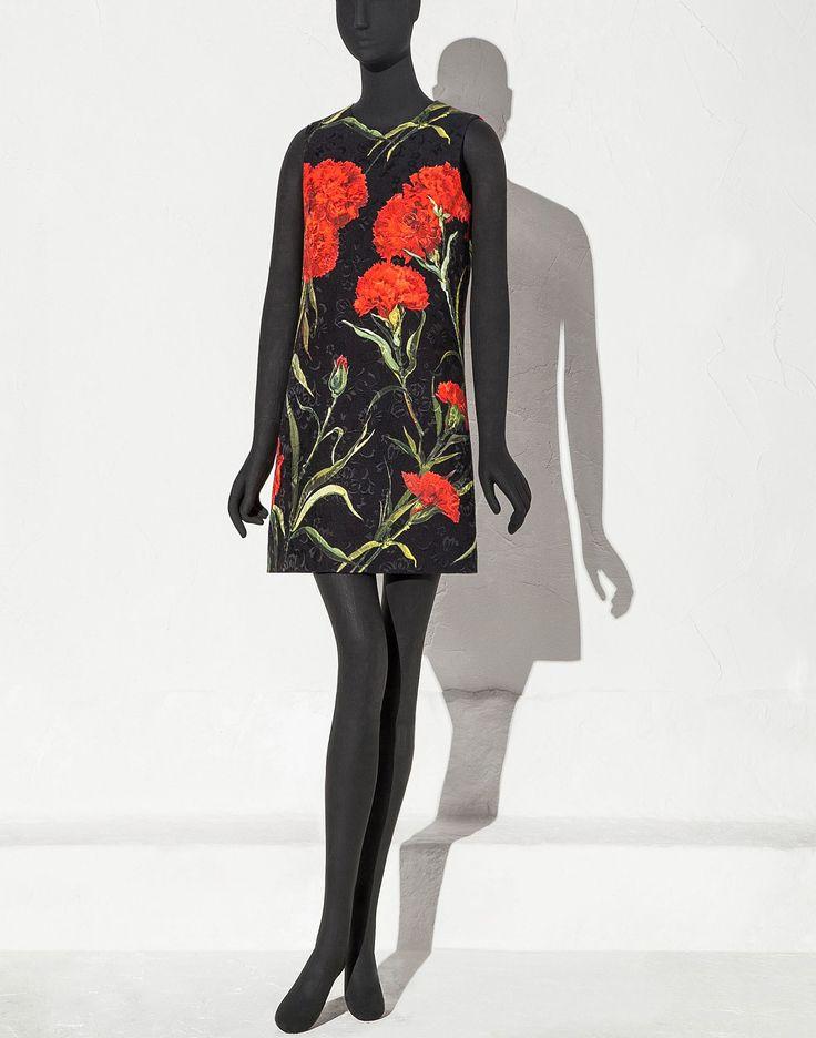 Robe trapèze en brocart avec imprimé Œillets   boutique en ligne dolce&gabbana