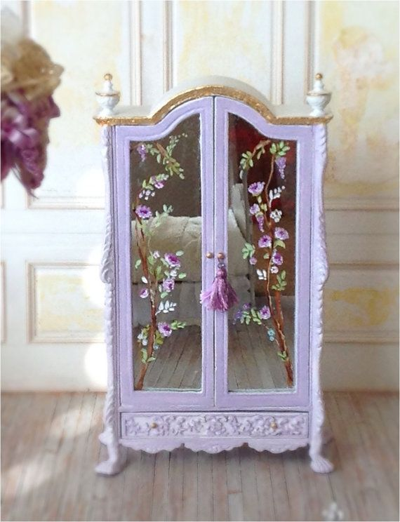 French Armoire w/painted Mirrors 1:12 scale