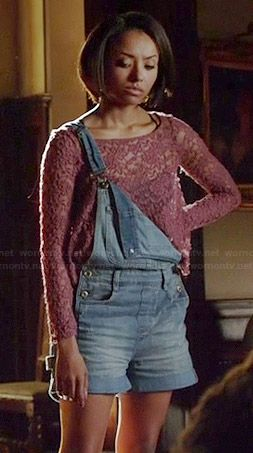 Bonnie's pink lace top and denim overalls on The Vampire Diaries.  Outfit Details: http://wornontv.net/38983/ #TheVampireDiaries