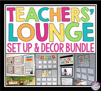 TEACHERS' LOUNGE / STAFFROOM SET UP AND DECOR BUNDLE Bring some positivity to your teachers' lounge with this bundle of posters, interactive bulletin boards, celebration displays, coffee station set-up and teacher gifts! Use these resources to make your