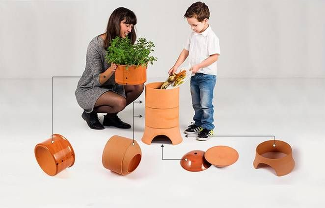 Compost with style - and with worms - using this terracotta vermicomposter. #familyactivity